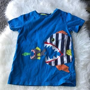 Mini Boden Boys Fish T shirt 6/7